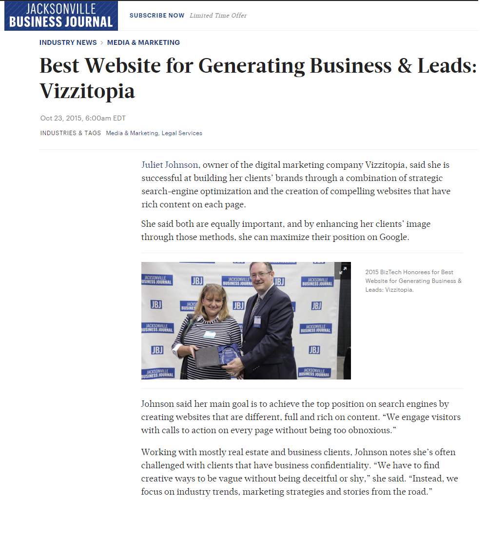 Jacksonville SEO award for Best Lead Generating Website